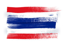 Thailand Colorful Brush Strokes Painted Flag.