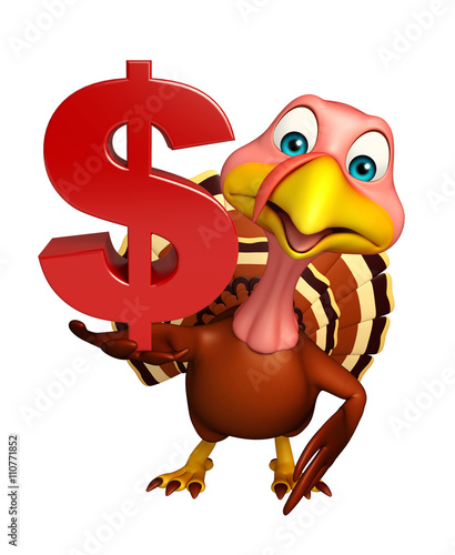 cute Turkey cartoon character with dollar sign - Buy this