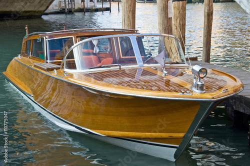 Wooden motorboat in Venice