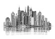 Big city architecture. Skyscrapers. Vintage sketch vector illustration