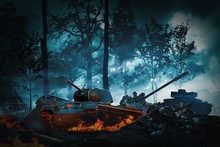 Tanks Attack In A Dark Forest