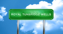 Royal Tunbridge Wells Vintage Green Road Sign With Highlights