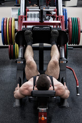 FototapetaPhoto bodybuilder with a beard in the gym