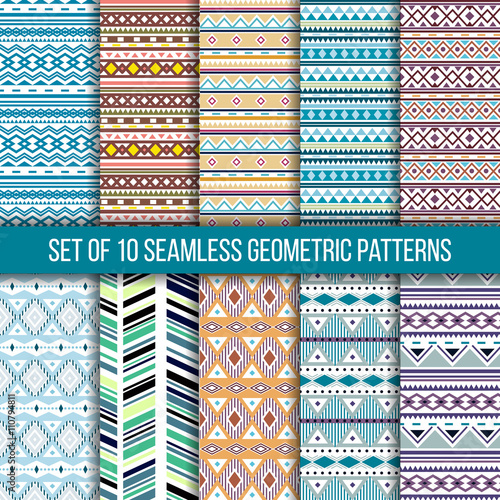 Fotobehang Boho Stijl Set of 10 seamless ethnic tribal geometric patterns. Aztec boho ornamental style. Ethnic, native american, indian ornaments. Vecror.