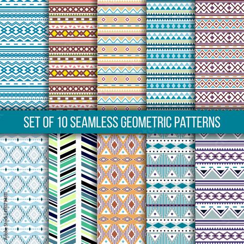 Photo sur Toile Style Boho Set of 10 seamless ethnic tribal geometric patterns. Aztec boho ornamental style. Ethnic, native american, indian ornaments. Vecror.