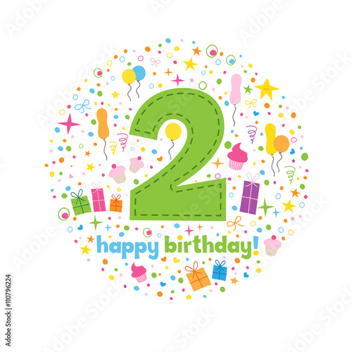 HAPPY 2nd BIRTHDAY Card In How Chunky Font With Motifs