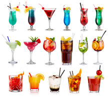 Set Of Classic Alcohol Cocktails Isolated