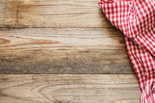 Wooden Background With Textile / Cooking Food / Pizza Wooden Table Background With Red And White Textile. Copy Space For Text