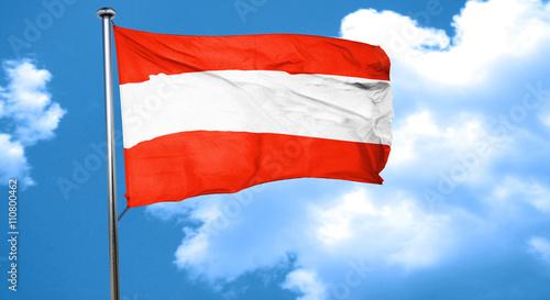 Fotografie, Obraz  Austria flag waving in the wind