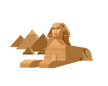 Sphinx And Pyramids Background. Travel Vector