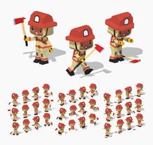 Firefighter. 3D Lowpoly Isomet...