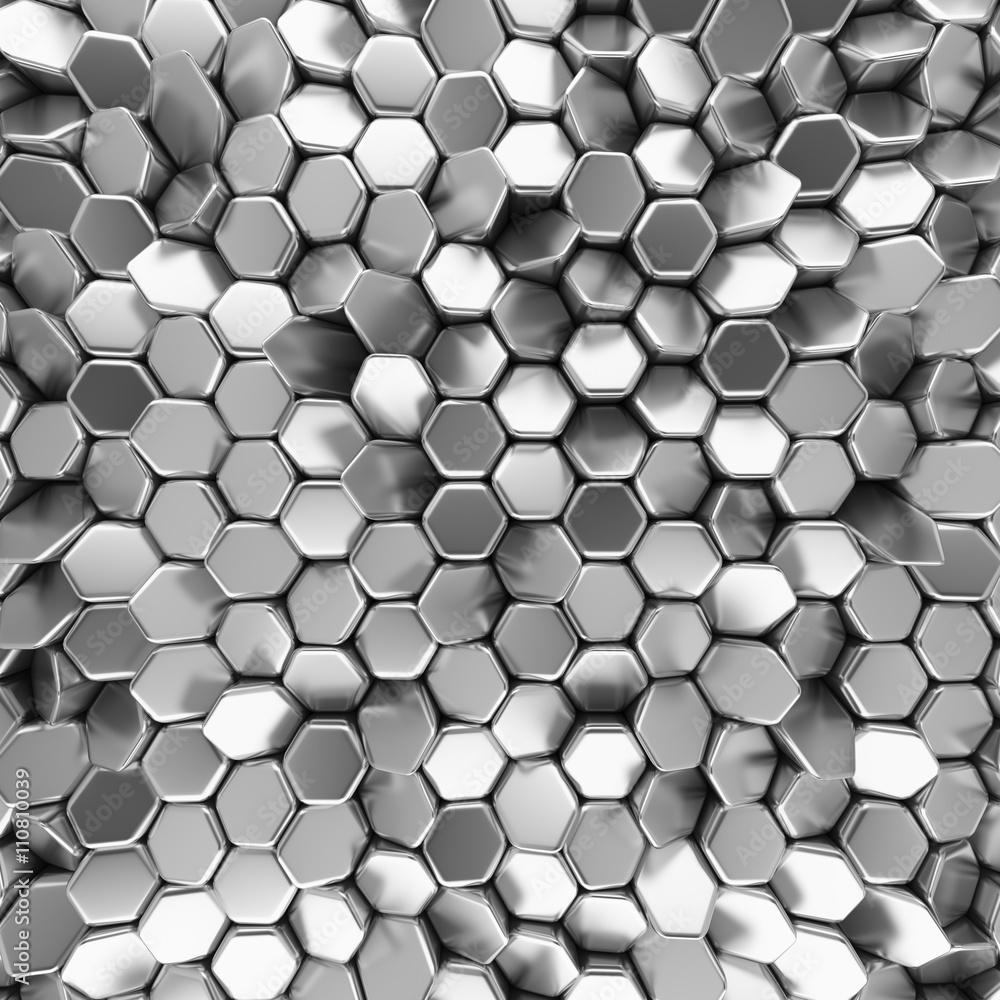 Fototapety, obrazy: Chromowane sześciokąty 3D