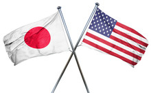 Japan Flag With American Flag,...