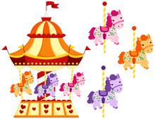 Cute Carousel And Horse