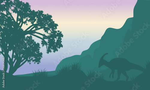 Photo Landscape parasaurolophus in fields silhouette