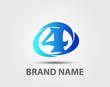 Number logo design.Number four logo.Logo 4 vector template