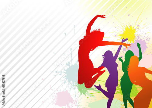 8948c44e2 Dancing Colorful Girl Splash - Abstract Dance Party Background Illustration,  Vector