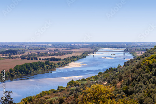 Fotografia, Obraz  The Tagus River (Rio Tejo), the largest of the Iberian Peninsula, and the Leziria landscape seen from Portas do Sol belvedere
