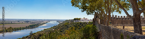 Fotografering The Tagus River (Rio Tejo), the largest of the Iberian Peninsula, and the Leziria landscape seen from castle walls in Portas do Sol belvedere