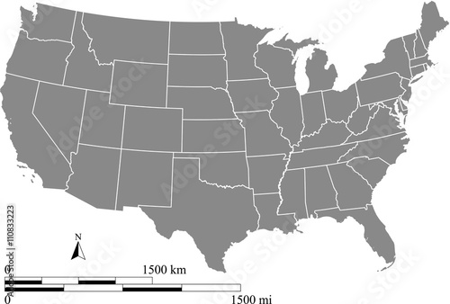 USA map vector outline with scales of miles and kilometers in gray background