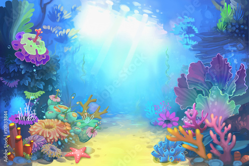 Creative Illustration and Innovative Art: Mysterious and Peaceful Undersea World. Realistic Fantastic Cartoon Style Character, Story, Card Design - 110833844