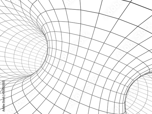 Fototapety, obrazy: Abstract 3d tunnel from a grid
