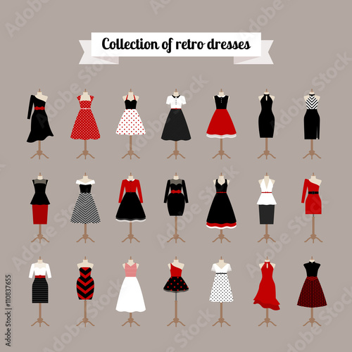 Retro woman dresses. Vector pinup dresses with polka dots pattern ...