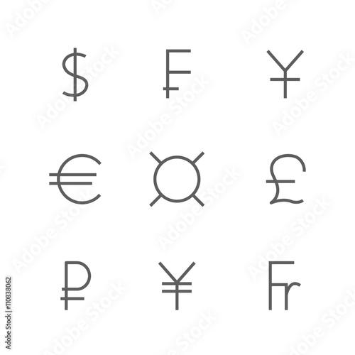 Set Symbols Of World Currencies Vector Illustration Buy This