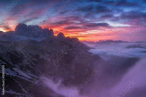 Tuinposter Zwart Beautiful sunrise on the Dolomites