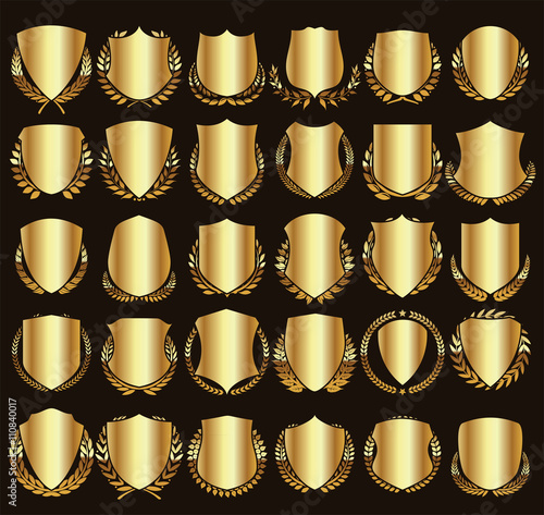 Vector medieval shields and laurel wreaths collection Fotobehang