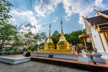 Two Golden Pagodas In Phra That Doi Tung Temple, Chiang Rai Prov