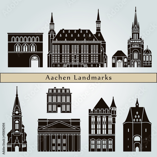 Aachen landmarks and monuments Canvas Print