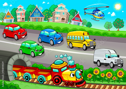 Aluminium Prints kids room Funny vehicles in the town