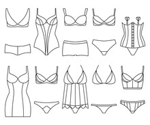 Lingerie Icon Set. Woman Underwear Isolated On The White. Colorful Vector Illustration