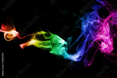 Colored Abstract Smoke Isolated On Black Background Photo