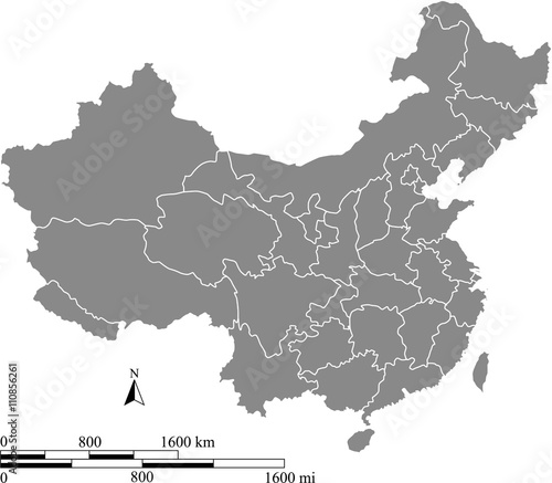 China map vector outline with scales of miles and kilometers in gray background