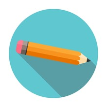 Pencil. Flat Design. Long Shadow. Circle. Isolated On White