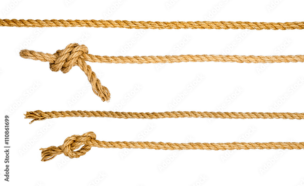 Fototapety, obrazy: Ship ropes with knot isolated on white background