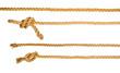 Leinwanddruck Bild - Ship ropes with knot isolated on white background