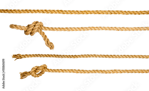 Vászonkép Ship ropes with knot isolated on white background