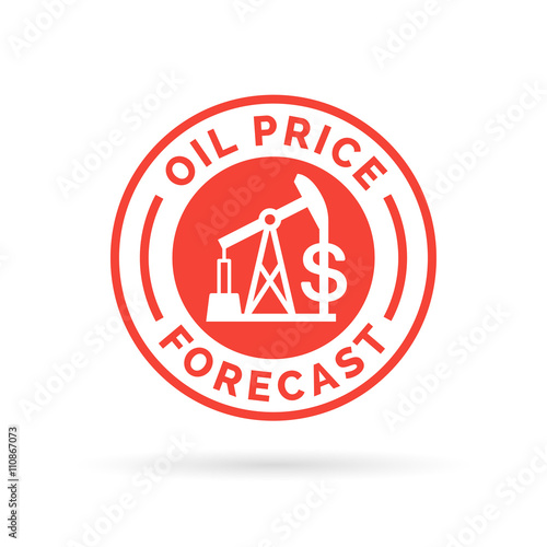 Oil Price Forecast Icon Stamp With Red Crude Oil Pump Symbol And