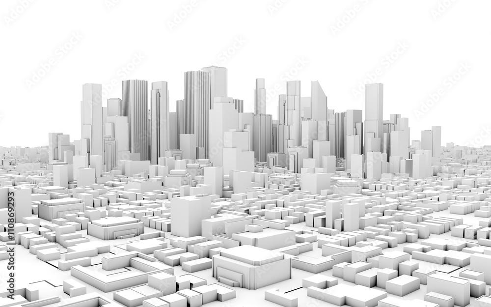 Fototapety, obrazy: 3d city panorama