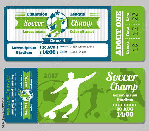 football soccer vector ticket template footbal ticket and soccer