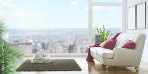 Soggiorno con divano e vista su città attico – kaufen Sie diese ...