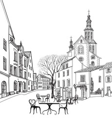 Street cafe in old city Cityscape: houses, buildings and tree on alleyway Castle landscape sketch