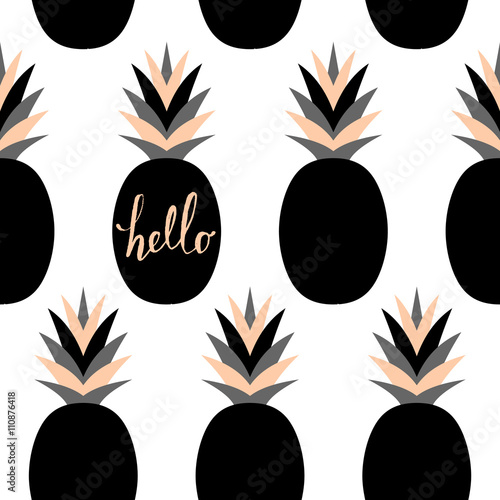 Cotton fabric Black Pineapples Pattern