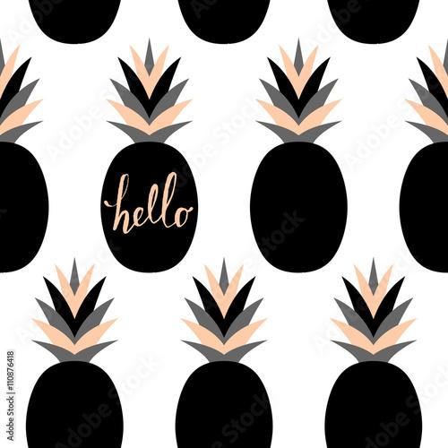 Materiał do szycia Wzór czarny ananasy
