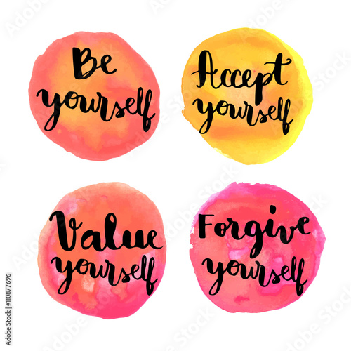 Be Yourself Hand Lettering Motivational Messages On Watercolor Extraordinary Motivational Messages