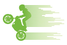Motorbike Rider Vector Background Trick Stunt Illustration Conce