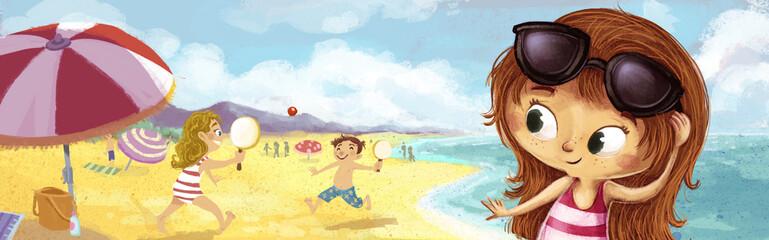 niña con gafas de sol en la playa